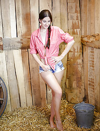 Lauren Crist strips in the barn as she bares her amazing physique.