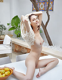 Sade Mare shows off her petite body with perky tits on the table.